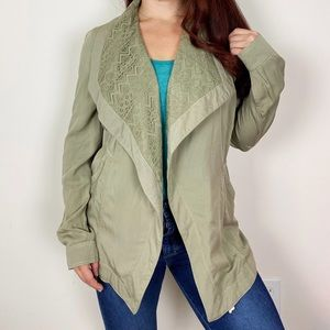 BKE BUCKLE Olive Green Lace Waterfall Front Jacket